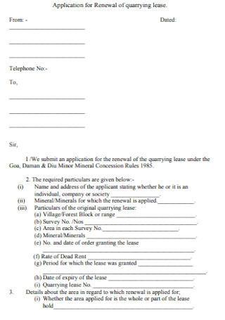 Renewal of Quarrying Lease Form