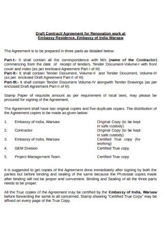 Renovation Work Contract