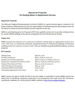 Request for Proposals For Roofing Contractor