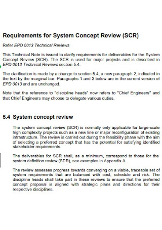 Requirements for System Concept Review