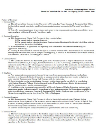 Residence and Dining Hall Contract