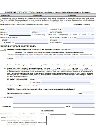 Residential Contract Petition Template
