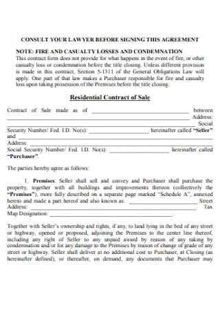 Residential Contract of Sale