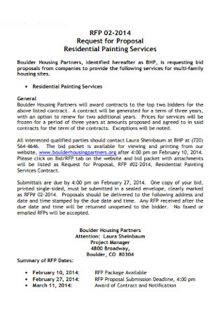 Residential Painting Contract Proposal