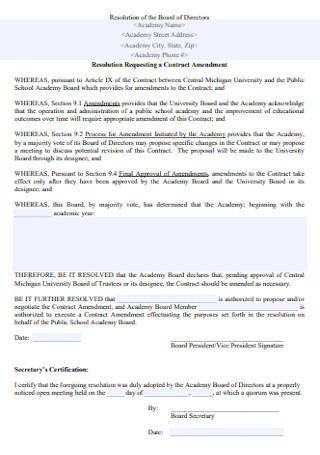 Resolution Requesting a Contract Amendment