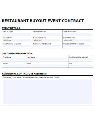 Restaurant Bay Out Contract