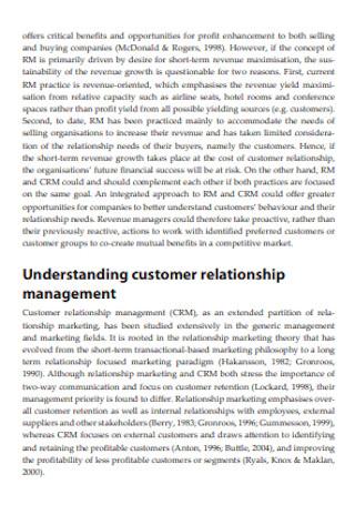 Revenue Management and Customer Relationship