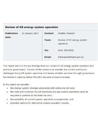 Review of Energy System