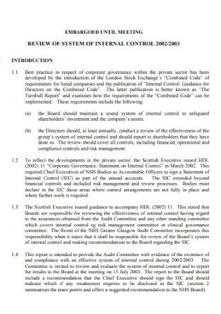 Review of System of Internal Control