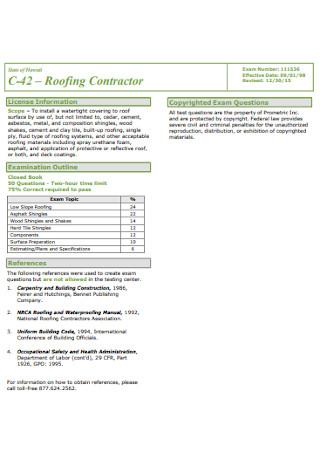 Roofing Contractor Format