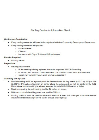 Roofing Contractor Information Sheet