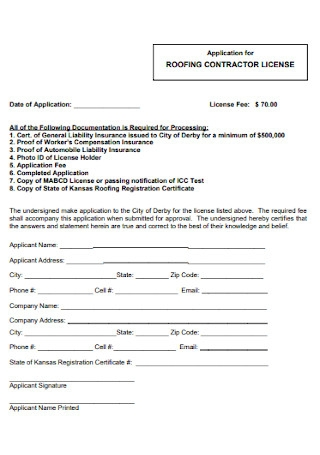 Roofing Contractor Licence Template