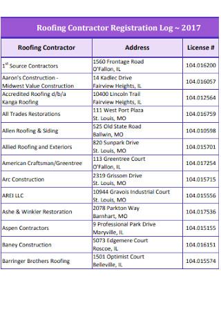 Roofing Contractor Registration Log