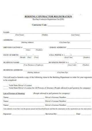 Roofing Contractor Registration