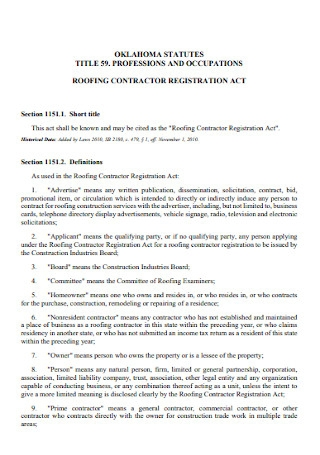 Roofing Contractor for Registration Act