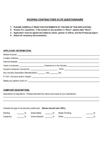 Roofing Contractors Elite Questionnaire