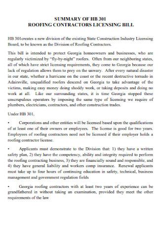 Roofing Contractors Licensing Bill