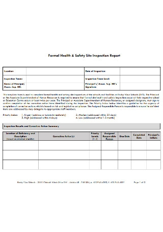 Safety Site Inspection Report