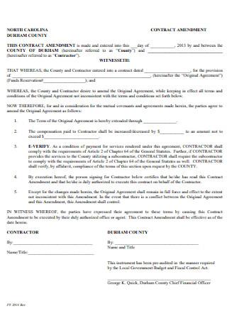 Sample Amendment Contract
