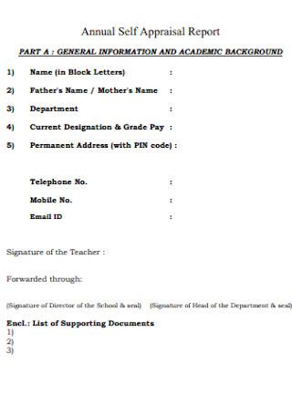 Sample Annual Self Appraisal Report