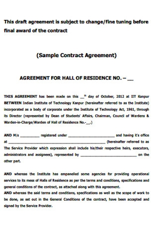 Sample Contract Agreement Example