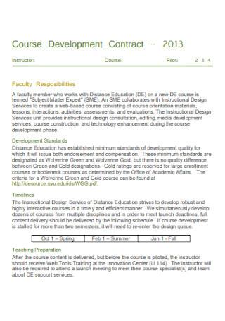 Sample Course Development Contract