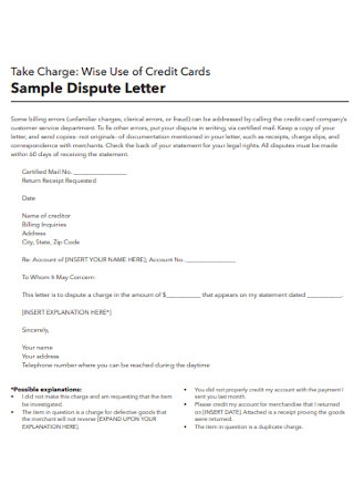 Sample Credit Cards Distibute Letter