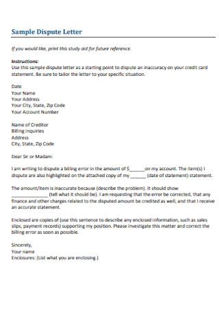 Sample Credit Dispute Letter Template