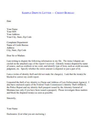 Sample Credit Dispute Letter
