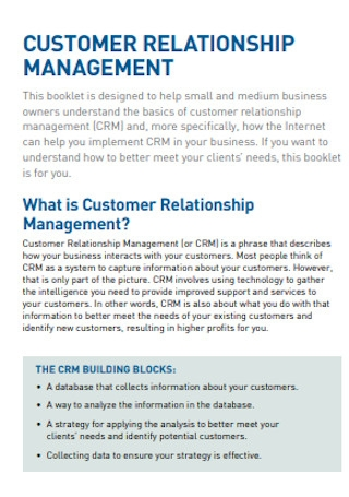 Sample Customer Releationship Management