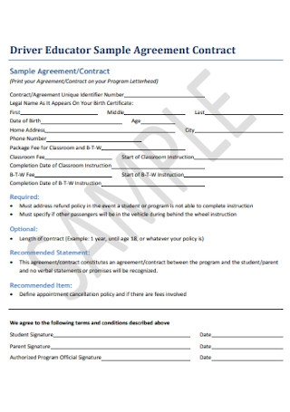 Sample Educator Contract Agreement