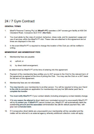 Sample Gym Contract