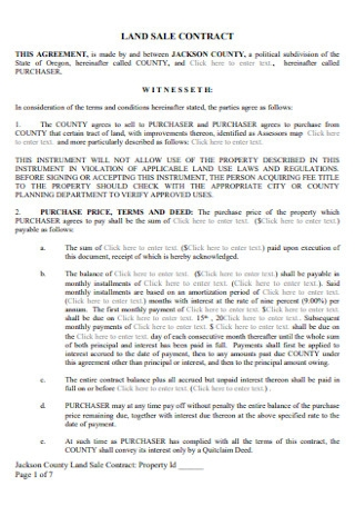Sample Land Sale Contract Form