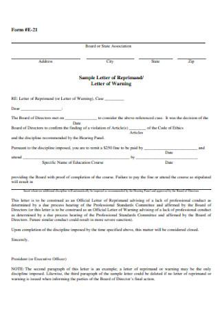 Sample Letter of Warning Reprimand