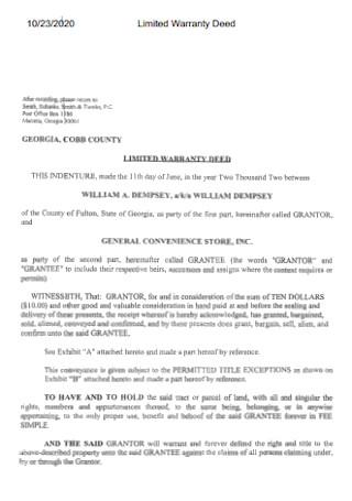 Sample Limited Warranty Deed