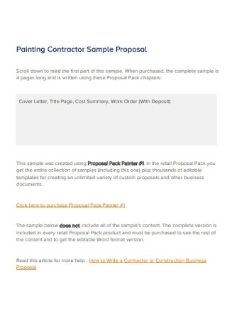 Sample Painting Contractor Proposal