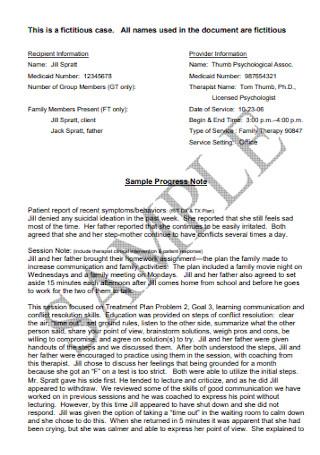 Sample Progress DAP Note
