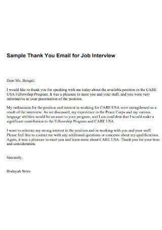 Sample Thank You Email for Job Interview