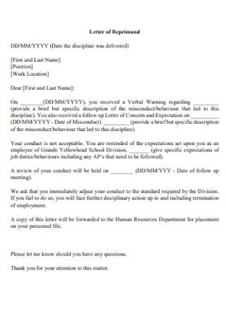 School Letter of Reprimand