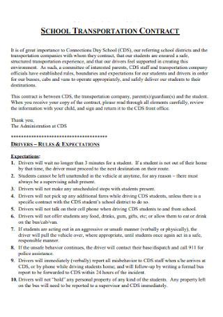 School Transportation Contract