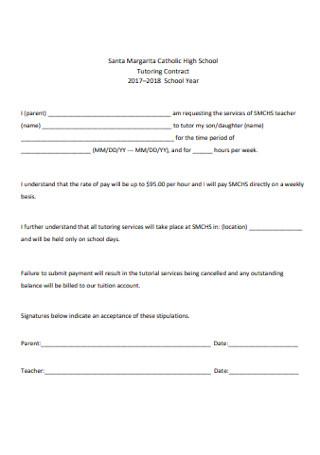 School Year Tutoring Contract