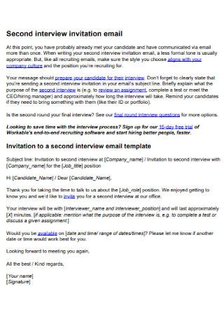Second Interview Invitation Email