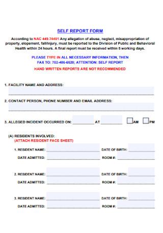 Self Report Form