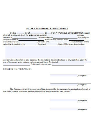 Sellers Assignment of Land Contract Form