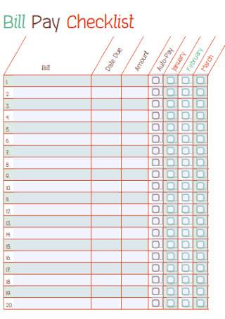 Simple Bill Pay Checklist