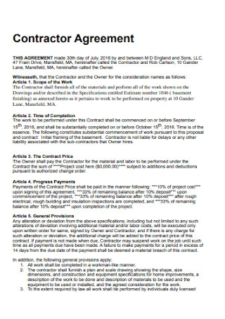 Simple Contractor Agreement