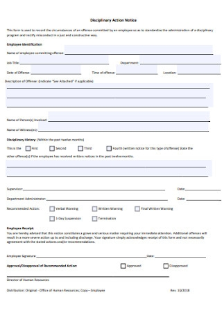 Simple Employee Disciplinary Action Form