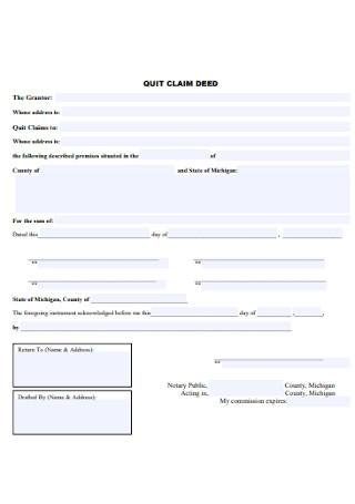 Simple Quit Calm Deed Form