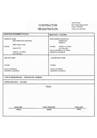 Simple Roofing Contractor Registration