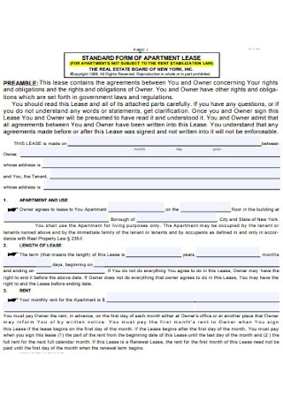 Standard Apartment Lease Renewal Form